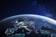 Europe viewed from space at night with city lights in European Union member states, global EU business and finance, satellite communication technology, 3D render of planet Earth, world map from NASA
