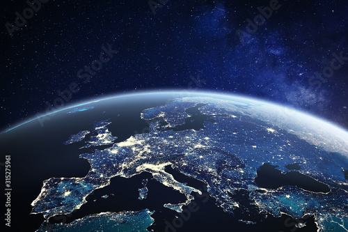 Fotografía Europe viewed from space at night with city lights in European Union member stat