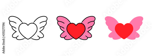 Stampa su Tela  Heart wing icon set isolated on white background for web design,Valentine day co