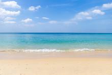 Peceful Beach With Blue Sky An...