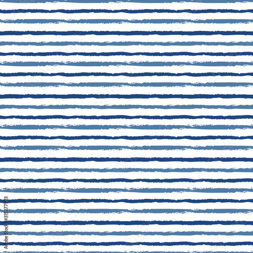 Horizontal seamless grunge brush striped pattern. Blue color stripes on white background. Seamless vector pattern background.