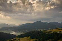 Golden Sunset In Carpathian Mo...