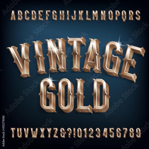 Vintage Gold alphabet font Wallpaper Mural