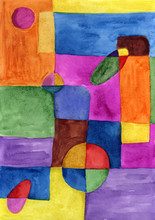Picasso Style Colored Hand Drawing Shapes. Abstraction, Watercolor. Graphic Abstract Background. Creative Art Background