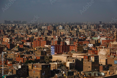 Cairo, Egypt The skyline of Cairo seen from the grounds of the Muhammed Ali mosq Wallpaper Mural