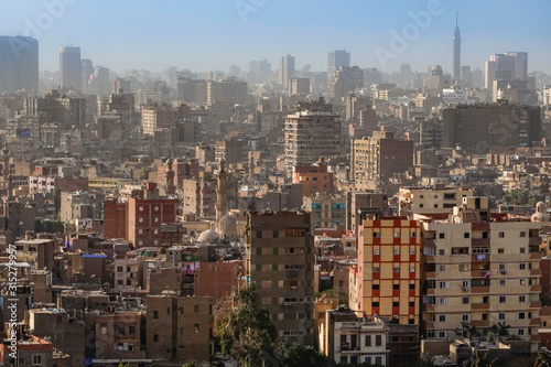 Cairo, Egypt The skyline of Cairo seen from the grounds of the Muhammed Ali mosq Canvas Print