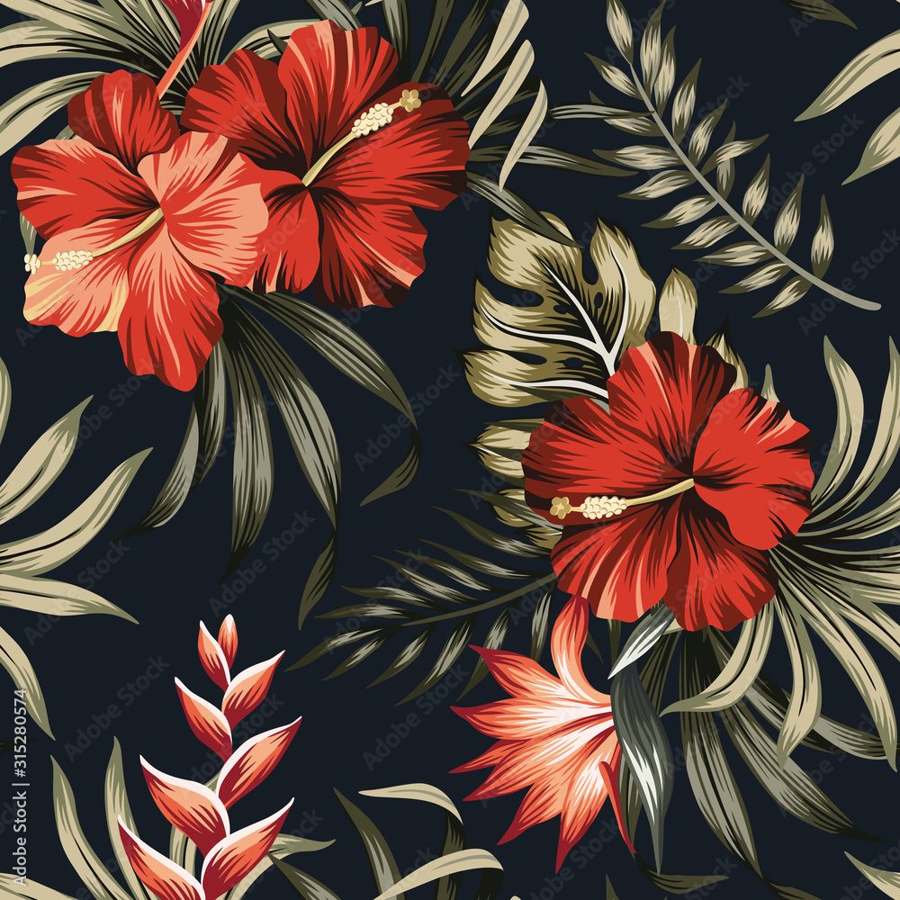 Fototapeta Tropical vintage red hibiscus and strelitzia floral green palm leaves seamless pattern black background. Exotic jungle wallpaper.