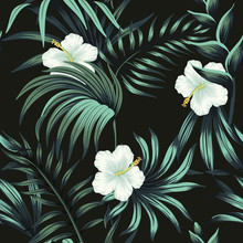 Tropical Vintage White Hibiscu...