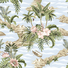Tropical Vintage Botanical Island, Palm Tree, Mountain, Sea Wave,boat, Palm Leaves, Hibiscus Lotus Flower Summer Floral Seamless Pattern Blue Background.Exotic Jungle Wallpaper.