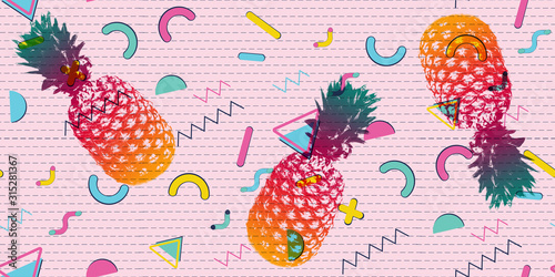 Fototapeta Pineapple with colorful geometric patterns