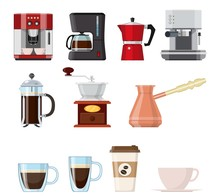 Set Of Coffee Elements Isolated On White Background. French Press, Coffee Makers, Cup, Pot, Grinder And Packaging. For Web, Poster, Menu, Cafe And Restaurant. Vector Illustration In Flat Style.