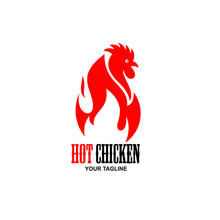 Hot Spicy Chicken Logo Design, Design Element For Poster, Emblem, Sign, . Vector Illustration