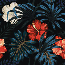 Tropical Vintage Hawaiian Night, Dark Blue Palm Leaves, Red And White Hibiscus Flower Floral Seamless Pattern Black Background. Exotic Jungle Wallpaper.