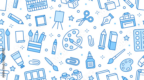 Obraz Stationery background, school tools seamless pattern. Art education wallpaper with line icons of pencil, pen, paintbrush, palette, easel. Painter supplies vector illustration blue white color - fototapety do salonu