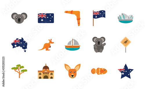 Photo australia animal things famous sites icons set on white background