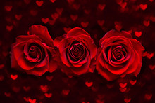Valentines Day Card With Three Red Roses On Dark Heart Boke Background. Love And Wedding Day Concept