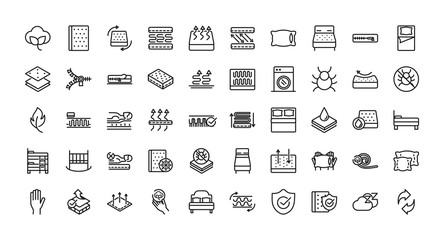 mattress comfortable soft textile icons set linear design