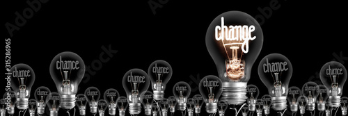 Light Bulbs with Chance and Change Concept Tableau sur Toile