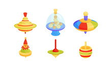 Whirligig Toy Vector Set. Colo...