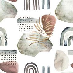 Fototapeta Do pokoju młodzieżowego Abstract nordic print with geometric elements and leaves. Watercolor seamless pattern. Hand drawn marble illustration. Mixed media background