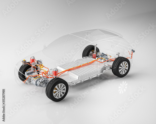 Modern electric car chassis x-ray vehicle battery in studio environment line art Fototapete