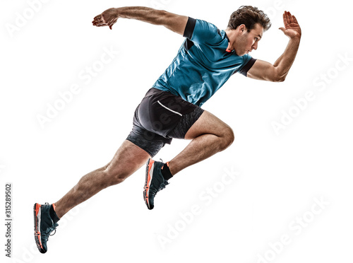 Leinwand Poster one caucasian runner running jogger jogger young man in studio isolated on white