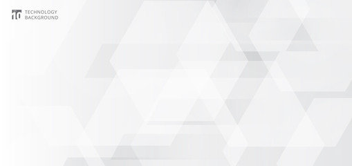 Abstract banner web white and gray geometric hexagon overlapping technology corporate design background.