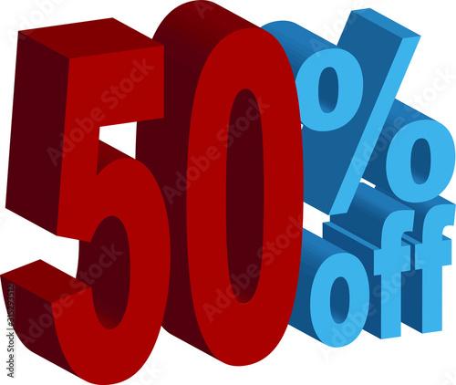 Fotografía  50 percent OFF 3D text