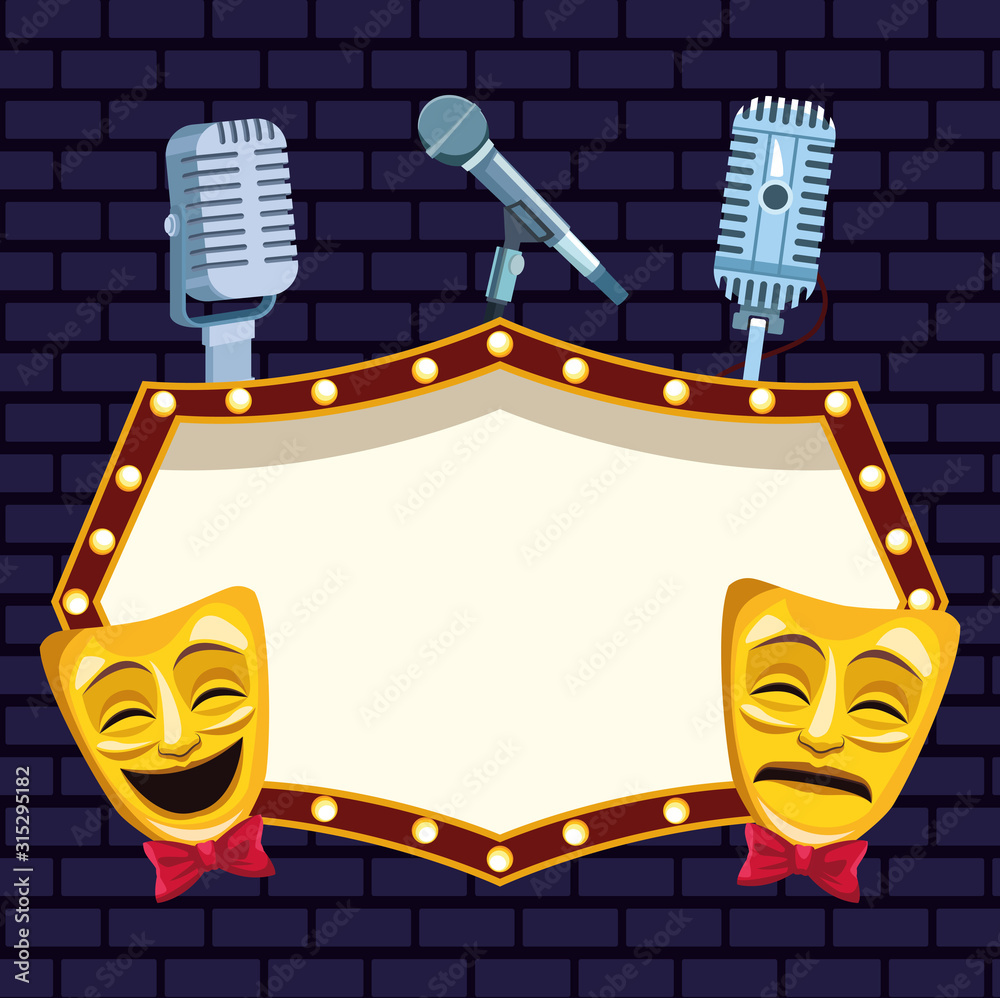 Fototapeta theatrical masks microphones and billboard stand up comedy show
