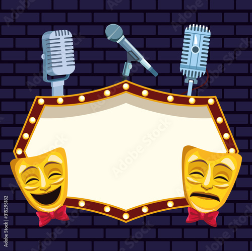 Obraz theatrical masks microphones and billboard stand up comedy show - fototapety do salonu