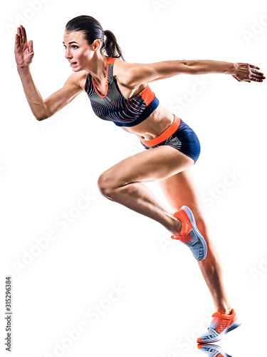 one young caucasian woman runner running jogger jogging athletics competition is Canvas Print