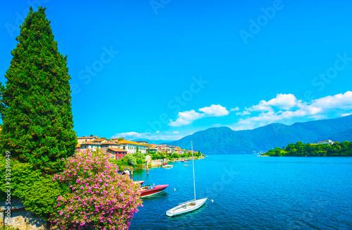 Como Lake, Isola Comacina village and island. Italy Slika na platnu