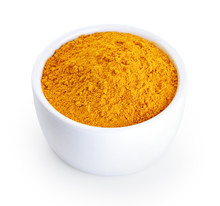 Bowl With Turmeric Powder Isol...