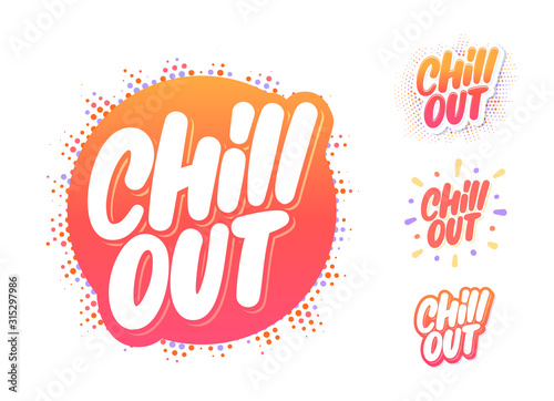 Slika na platnu Chill out. Vector lettering icons set.