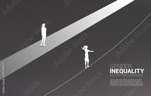 Fototapeta Businessman move forward on road and businesswoman on rope. Concept of gender inequality in business and obstacle in woman career path obraz na płótnie