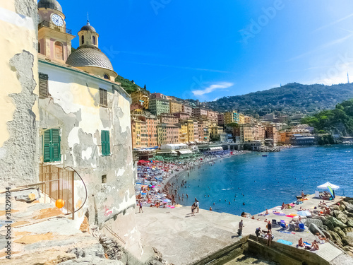 Middle age fortress Castello Dragone in Camogli, Italy Poster Mural XXL