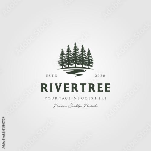 evergreen pine tree logo vintage with river creek vector emblem illustration design Wall mural