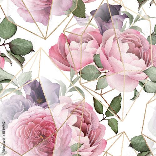 rozowe-kwiaty-geometryczny-styl
