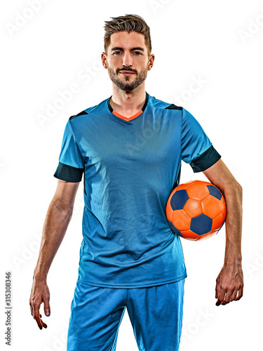 Fototapeta one caucasian youg soccer player man standing in studio isolated on white backgr