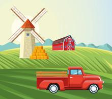 Farming Windmill Barn Pickup A...