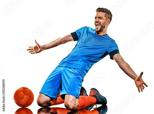 one caucasian youg soccer player man standing in studio isolated on white backgr Fototapet