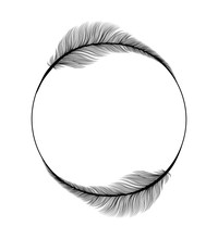 Feathers Frame Circle Ring, We...