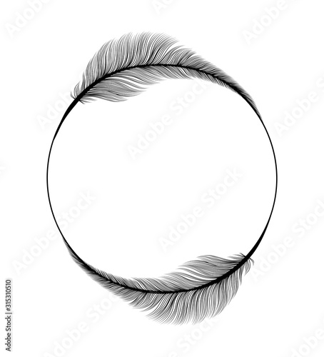 Obraz Feathers frame circle ring, Wedding and Save the Date invitation card design template on vector white background. Black fluffy feather quills in circle frame, modern trend wedding party decoration - fototapety do salonu
