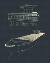 Large Container Ship Blueprint