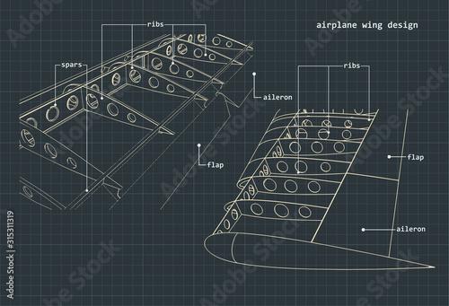 Photo Airplane wings drawings
