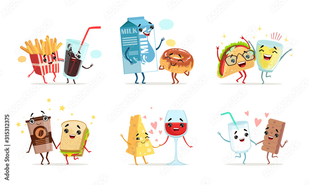 Fototapeta Forever Friends Collection, Cute Funny Food and Drink Characters Best Friends Vector Illustration