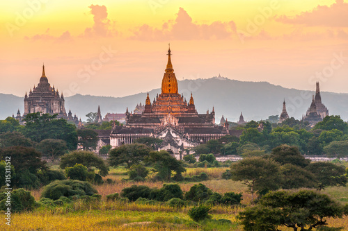 The Temple of Bagan at sunset, Mandalay province, Myanmar, Canvas Print