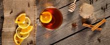 Cup Of Hot Tea On Rustic Woode...