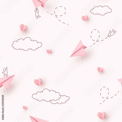 hearts-and-planes-seamless-pattern-paper-flying-airplanes-on-pink-sky-background-vector-symbols-of-love-for-happy-mother-s-valentine-s-day-greeting-card-design