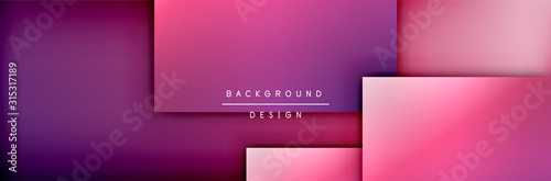 Square shapes composition geometric abstract background. 3D shadow effects and fluid gradients. Modern overlapping forms - 315317189